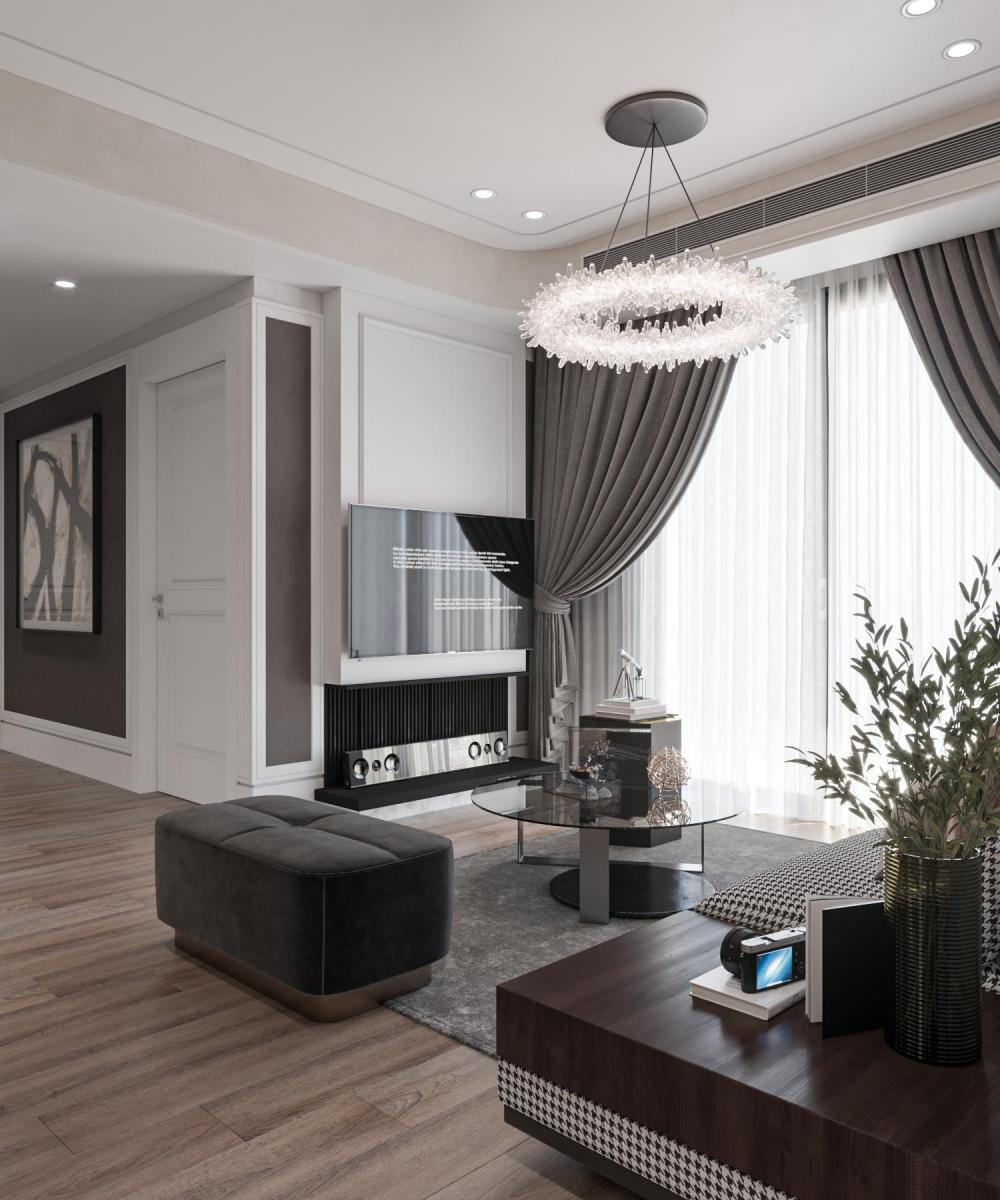 Thiết kế phòng tiếp khách chung cư dlc complex
